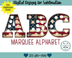 US Flag Marquee Sublimation PNG Alphabet