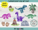 Hand drawn watercolor dinosaur clipart pack