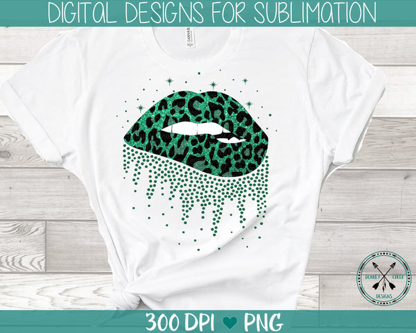 leopard print sublimation biting lips PNG instant download