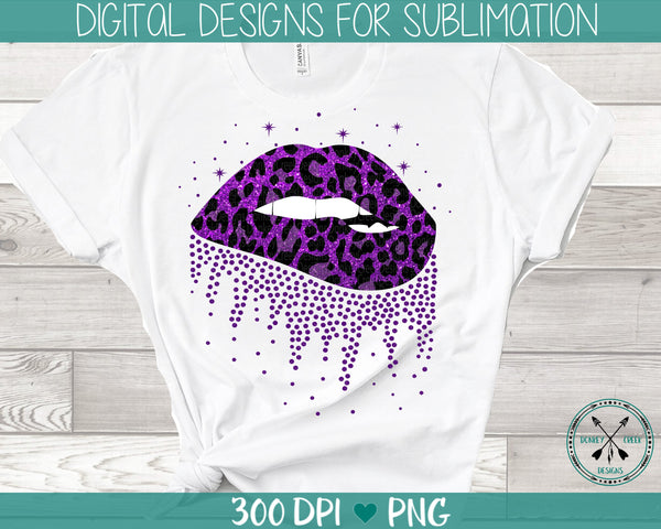 leopard and glitter print sublimation biting lips PNG instant download