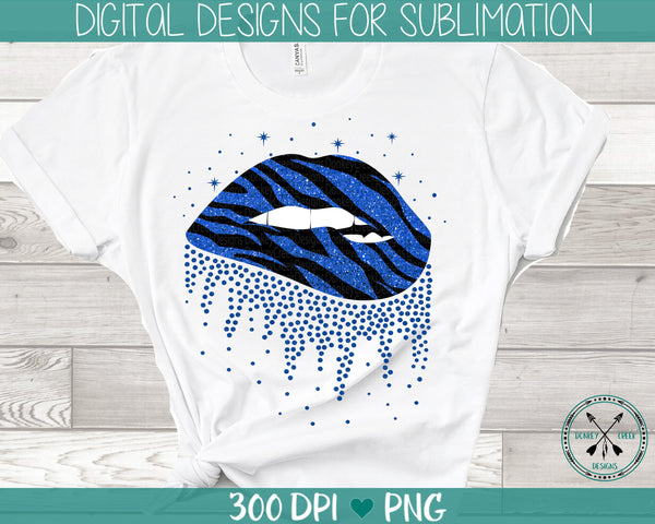 Zebra and glitter print sublimation biting lips PNG instant download