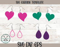 Heart & tear Drop SVG Earring Template  Bundle