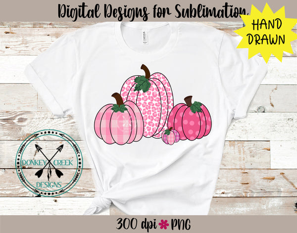 Hand Drawn PINK Pumpkins Sublimation Design