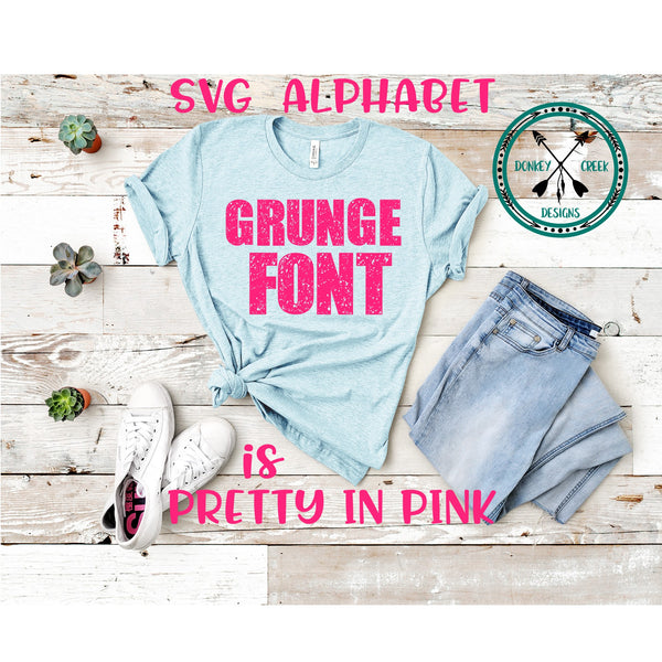 Distressed  Alphabet SVG font, Grunge font