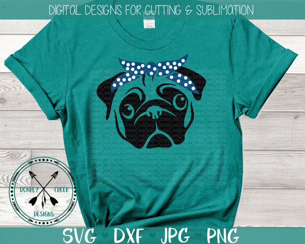 Pug with Bandanna SVG