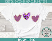 Valentine's Day  Leopard & Glitter Hearts Sublimation Design