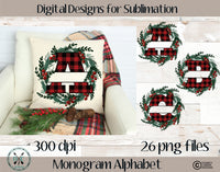 Split Letter Monogram Alphabet Sublimation PNG