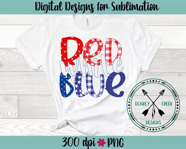 Red White & Blue Sublimation PNG