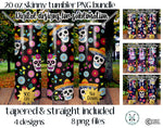 20 oz Skinny Tumbler Design Template- Skulls PNG Bundle