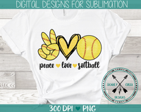 peace love softball hand drawn sublimation digital download