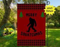 Merry Squatchmas Garden Flag Design Template