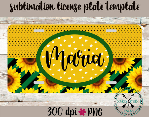 Sunflower Monogram License Plate Design Template