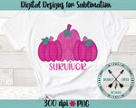 Hand Drawn Pumpkin Breast Cancer Survivor Sublimation Design