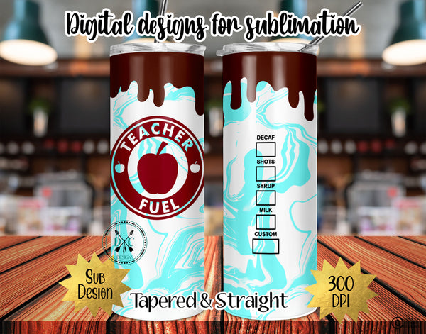 20 oz Skinny Tumbler Design Template-Teacher Fuel
