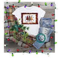 Christmas Tree Trio Shabby Frame,  sublimation PNG