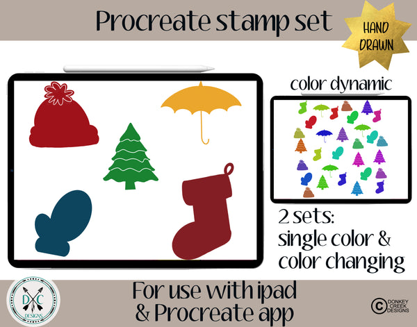 Procreate Brush Stamp Set- Winter stamps