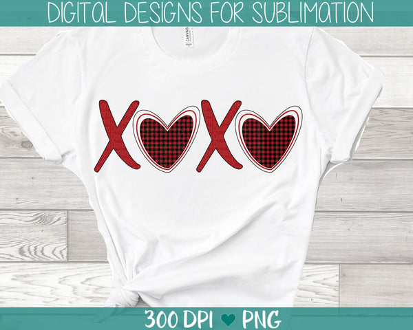 XOXO Plaid Hearts Valentine's Day Sublimation Design