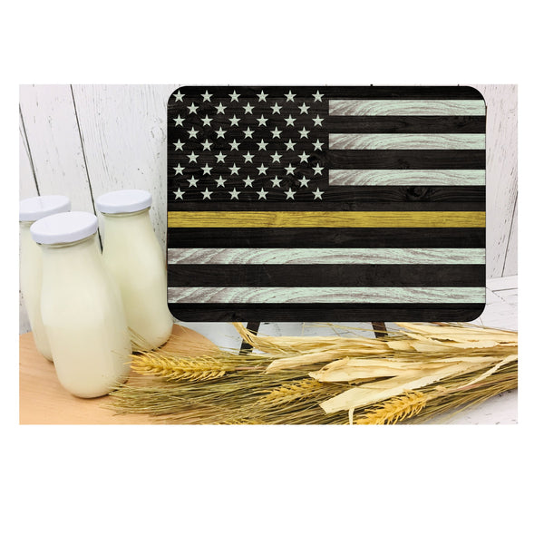 Thin Yellow Line 911 dispatcher Cutting board Sublimation Template Design