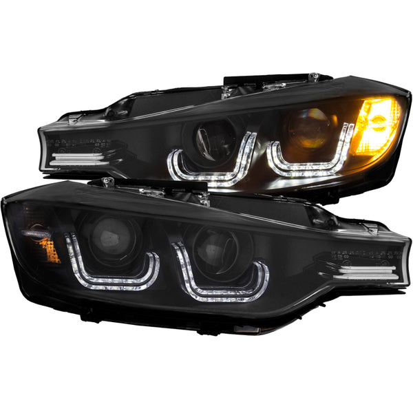 ANZO 2012-2015 BMW 3 Series Projector Headlights w/ U-Bar Black