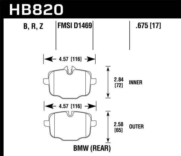 Hawk 12-17 BMW M6 / 14-17 BMW M6 Gran Coupe / 13-16 BMW M5 Performance Ceramic Rear Brake Pads