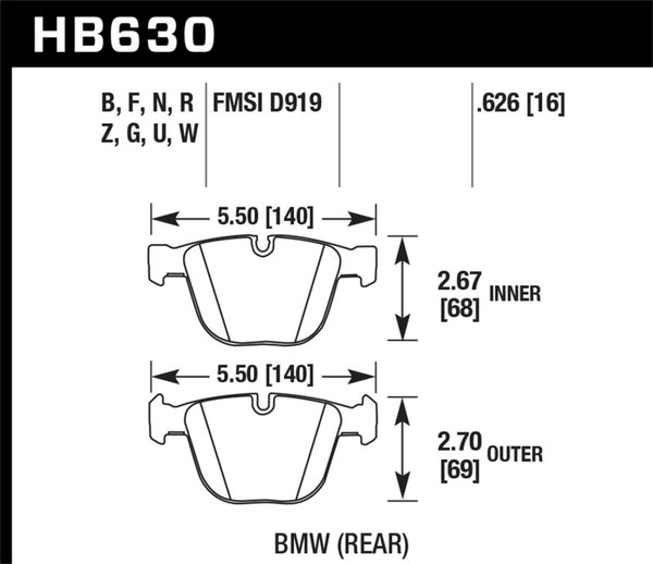 Hawk 06-10 BMW M5/M6 DC60 Rear Brake Pads