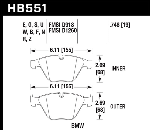 Hawk 07-09 BMW 335d/335i/335xi / 08-09 328i/M3 DTC-70 Race Front Brake Pads
