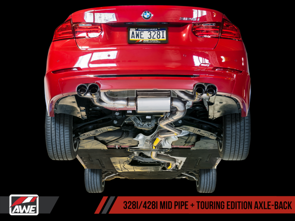 AWE Tuning BMW F3X N20/N26 328i/428i Touring Edition Exhaust Quad Outlet - 80mm Chrome Silver Tips