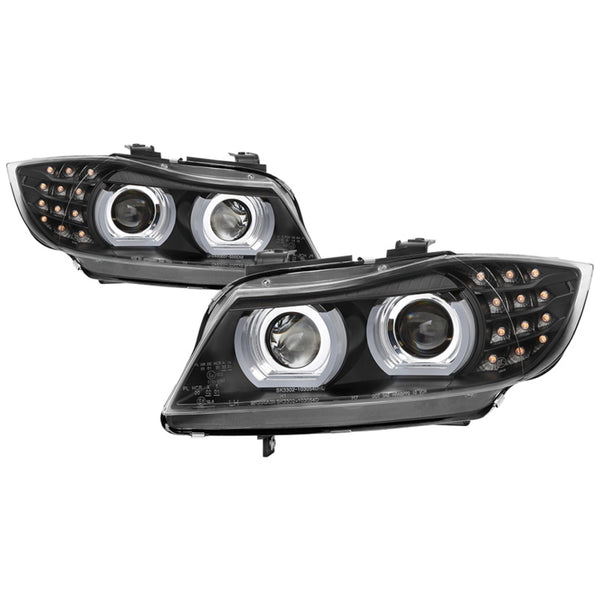 Spyder 09-12 BMW E90 3-Series 4DR Projector Headlights Halogen - LED - Black - PRO-YD-BMWE9009-BK
