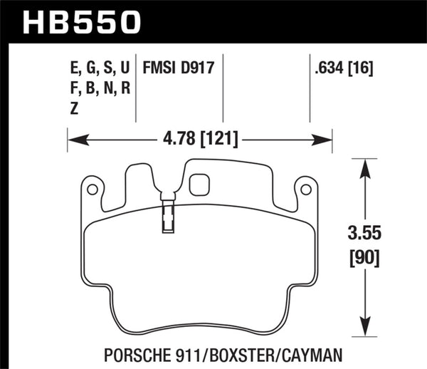 Hawk Porsche 911 / Cayman / Boxster Front /Rear DTC-70 Race Brake Pads