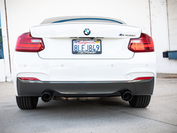 aFe MACH ForceXP 3IN to 2.5IN 304SS Cat-Back Exhaust System w/ Black Tips 14-16 BMW M235i (F22/23)