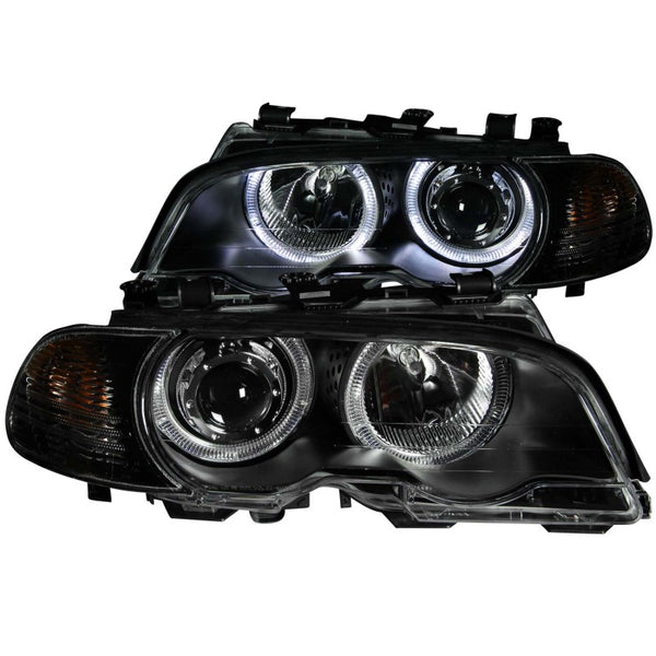 ANZO 2000-2003 BMW 3 Series E46 Projector Headlights w/ Halo Black