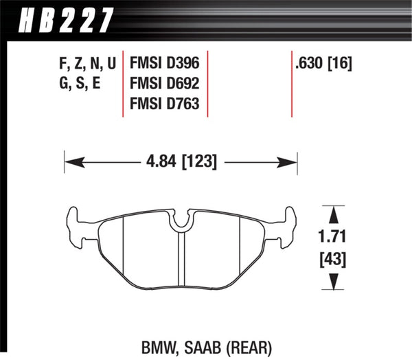 Hawk 95-99 BMW M3 E36 HPS Street Rear Brake Pads