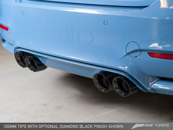 AWE Tuning BMW F8X M3/M4 Resonated Track Edition Exhaust - Diamond Black Tips (102mm)