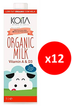 Load image into Gallery viewer, Koita Organic Low Fat Cow Milk Pack of 12x1L
