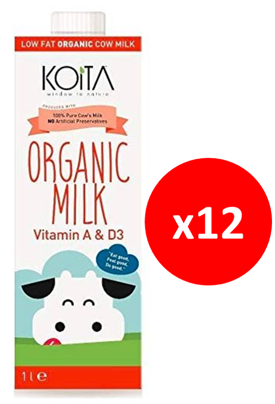 Koita Organic Low Fat Cow Milk Pack of 12x1L