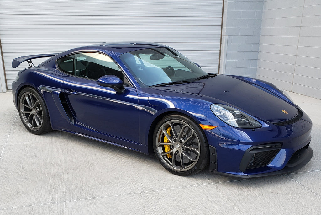 NEW FOR SALE: 2020 PORSCHE 718 CAYMAN GT4 - Only 310 miles - Gentian Blue Metallic With Black Alcantara