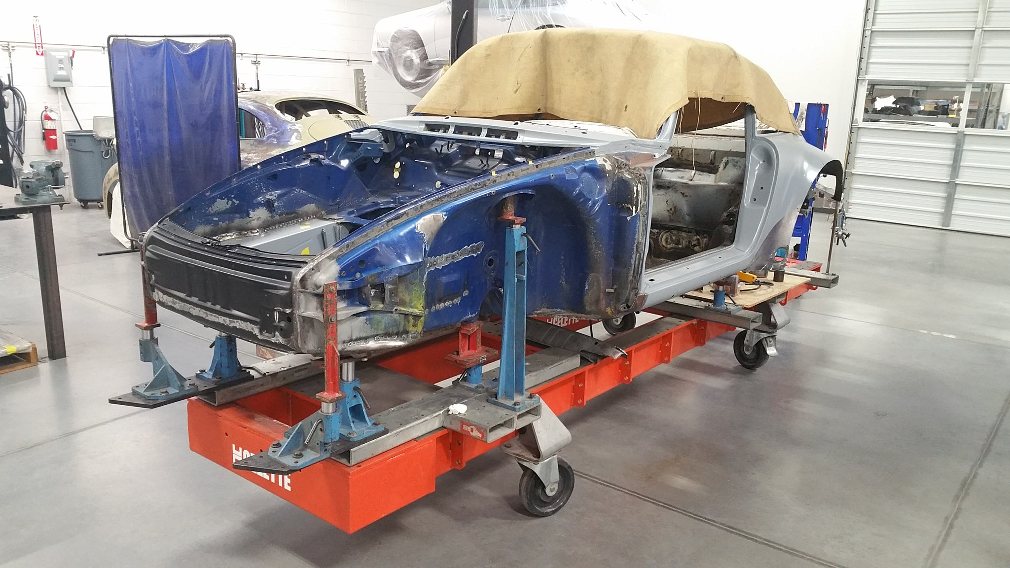 Porsche 934 restoration on bench