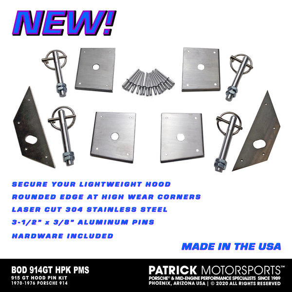 STAINLESS STEEL 4 POINT HOOD PIN KIT FOR PORSCHE 914-GT / Alternate Part Numbers: BOD 914GT HPK PMS / BOD-914GT-HPK-PMS / BOD.914GT.HPK.PMS / BOD914GTHPKPMS
