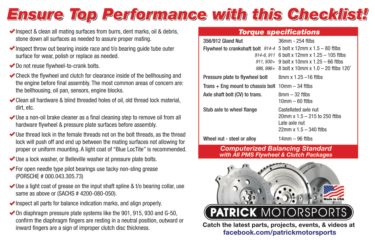 Clutch & Flywheel Specs