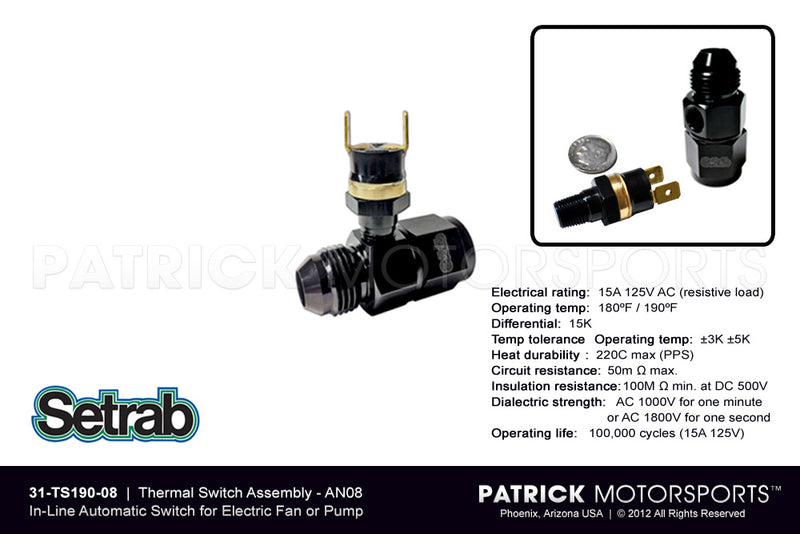 In-Line Thermal Switch Assembly An08 OIL SET 31 TS190 08 / OIL SET 31 TS190 08 / OIL-SET-31-TS190-08 / OIL.SET.31.TS190.08 / OILSET31TS19008