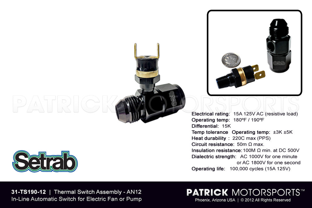 OIL SET 31 TS190 12: IN-LINE THERMAL SWITCH ASSEMBLY AN12 MALE - AN12 FEMALE