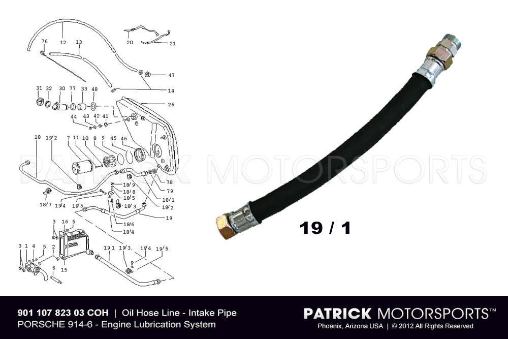 OIL 901 107 823 03 COH: 	 914-6 OIL HOSE LINE - INTAKE FEED PIPE TO ENGINE OIL COOLER - PORSCHE 914 / 6