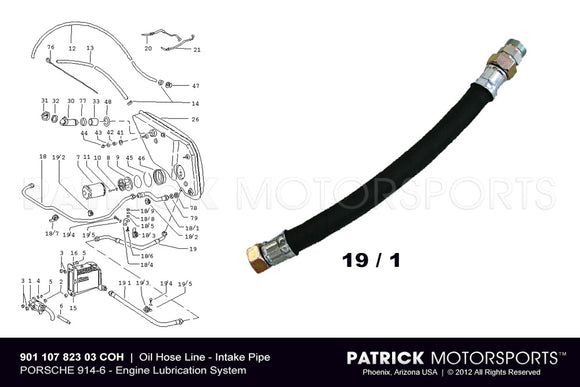 914-6 Oil Hose Line - Intake Feed Pipe To Engine Oil Cooler - Porsche 914 / 6 OIL 901 107 823 03 / OIL 901 107 823 03 / OIL-901-107-823-03 / OIL.901.107.823.03 / OIL90110782303 / 901 107 823 03 / 901-107-823-03 / 901.107.823.03 / 90110782303