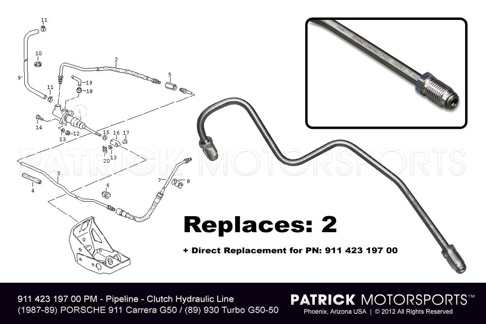 TRA 911 423 197 00 PMP: CLUTCH HYDRAULIC LINE AT PEDALS