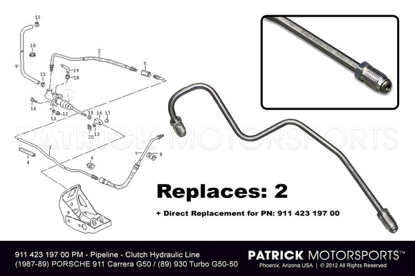 Clutch Hydraulic Line At Pedals 911 423 197 00 / TRA 911 423 197 00 PMP / TRA-911-423-197-00-PMP / 911.423.197.00 / 91142319700