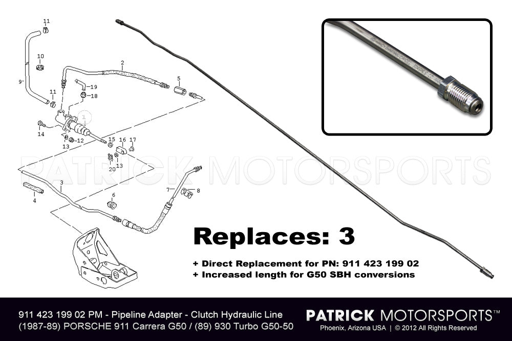 TRA 911 423 199 02 PMP: PIPELINE ADAPTER - CLUTCH HYDRAULIC LINE IN TUNNEL G50