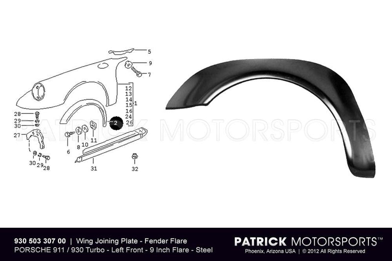 FENDER FLARE - WING JOINING PLATE - FRONT LEFT - PORSCHE 911 / 930 TURBO- BOD93050330700DAN