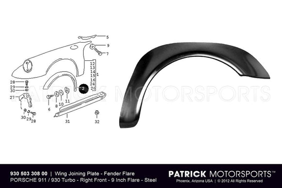 FENDER FLARE - WING JOINING PLATE - FRONT RIGHT - PORSCHE 911 / 930 TURBO- BOD93050330800DAN