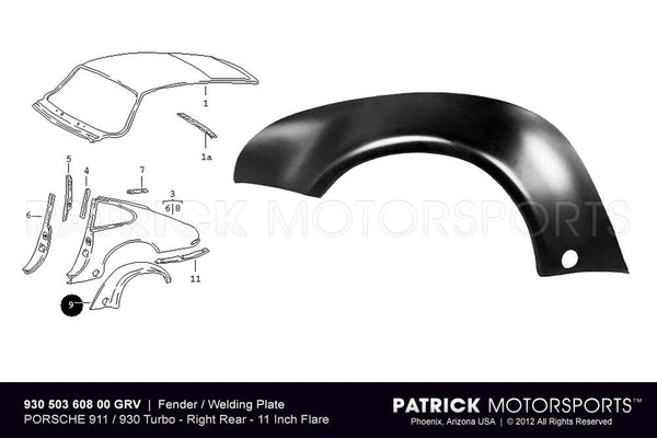 Fender Flare - Rear Right - Porsche 911 / 930 BOD 930 503 608 00 GRV / BOD 930 503 608 00 GRV / BOD-930-503-608-00-GRV / 930.503.608.00 / 93050360800