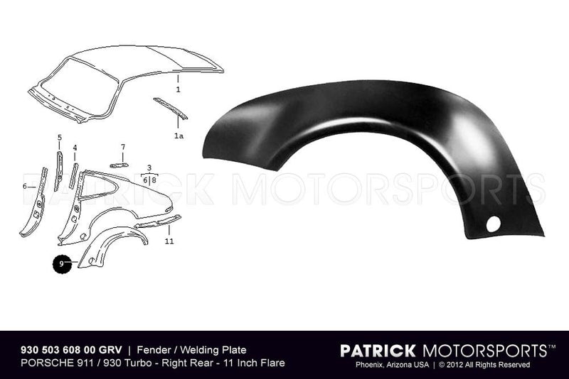FENDER FLARE / WELDING PLATE - REAR RIGHT - PORSCHE 911 / 930 TURBO- BOD93050360800GRV
